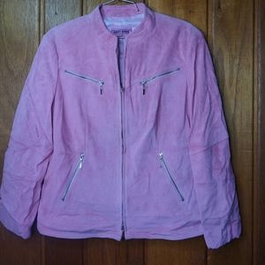 Gerry Weber Pink Leather Suede Jacket with Pockets